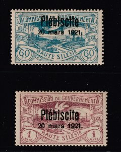Upper Silesia the 60pf & 1M MNH from the 1921 set