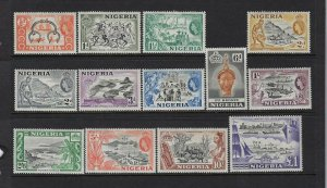 NIGERIA SCOTT #80-91/93 1953-57 QEII PICTORIALS- MINT ALMOST NEVER HINGED