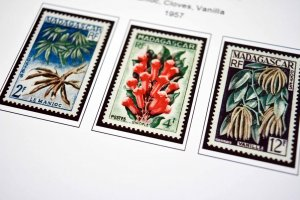 COLOR PRINTED FRENCH MADAGASCAR 1889-1957  STAMP ALBUM PAGES (46 illustr. pages)
