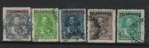 Ecuador Lot of Five Telegraph Stamps VFU (8dwo)
