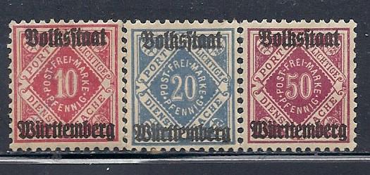 Wurttemberg #O47,O49 & O52 (M) CV $6.20