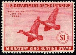 US STAMP BOB DUCK STAMP #RW10 – 1943 $1.00 Wood Ducks  MH/OG STAMP