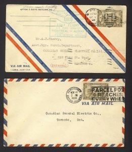 2x Canada 1st flight Covers C1-5c Montreal-Albany C1-5c 1930 Vancouver-Toronto
