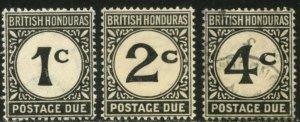 BR. HONDURAS Sc#J1-J3 SGD1-D3 1923-56 Postage Dues Complete Mint LH & Used