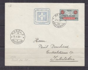 SWITZERLAND, 1938 PRO AEREO 75c, on 50c. First Day cover.