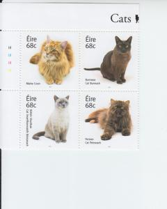 2014 Ireland Cats B4 (Scott 2051-54a) MNH
