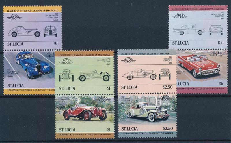 [71259] St. Lucia 1984 Automobiles Vintage Cars 4 Pairs MNH