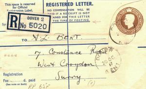 GB Kent Dover REGISTERED Croydon RP65F 1947 {samwells-covers} E218
