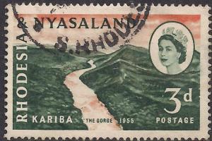 Rhodesia & Nyasaland 1960 QE2 3d Kariba Gorge SG 32b Gorge Flaw Error ( H1338 )
