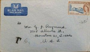 J) 1951 MONTSERRAT, PORTRAIT OF QUEEN ELIZABETH II, AIRMAIL, CIRCULATED COVER, F
