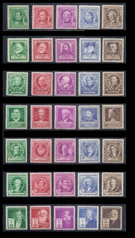 1940 US SC 859-893 Complete Famous Americans Set of 35 - VF MNH