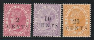 BRITISH HONDURAS 1888 QV SMALL OVERPRINT 2C 10C 20C NO GUM
