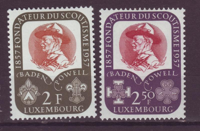 J18986 Jlstamps 1957 luxembourg set mh #324-5 scouts
