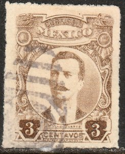 MEXICO 611, 3cents ROULETTED, USED. VF. (332)