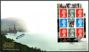 HERRICKSTAMP GREAT BRITAIN Sc.# BK218 Star Wars Booklet Pane FDC