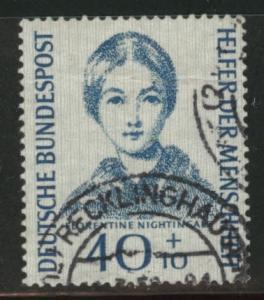 Germany Scott B347 Used 1955 Creased Nightingale Nurse stamp