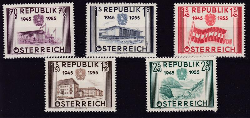 Austria 1955 10th Anniversary of Independence Complete (5)  VF/NH