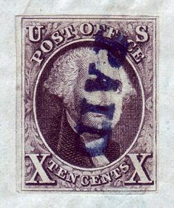 #2 Used,  10c. Washington,  On Piece, Paid  Cancellation