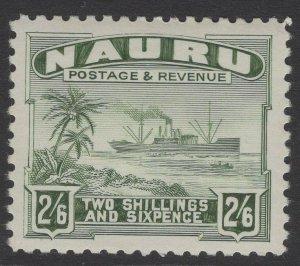 NAURU SG37B 1937 2/6 GREY-GREEN MTD MINT