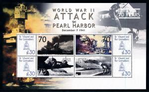 [78482] St. Vincent & Grenadines 2009 World War II Pearl Harbor Sheet MNH