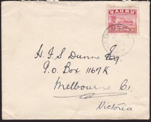 NAURU 1938 1½d freighter on commercial cover to Melbourne...................7012