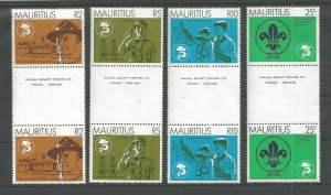 1982 Mauritius gutter pairs Boy Scout 75th anniversary