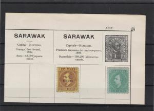 sarawak stamps on part album page   ref 10890