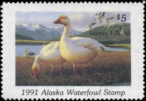 ALASKA #7 1991 STATE DUCK SNOWGEESE by Ronald  Louque
