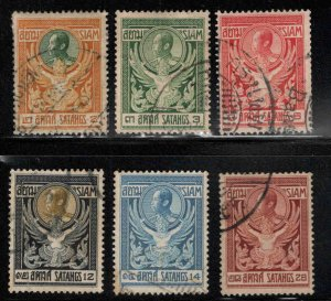 Thailand Scott 139-144 Used 1910 King Chulalongkorn set stamp one thinned