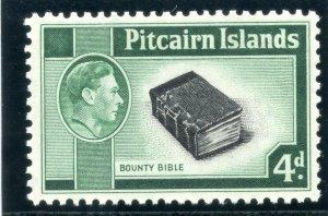 Pitcairn Islands 1951 KGVI 4d black & emerald-green MLH. SG 5b. Sc 5A.