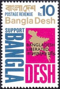Bangladesh # 16 mnh ~ 10r Liberated overprint On Map