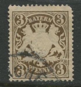 Bavaria -Scott 60 - Coat of Arms -1888 -  Used - Single 3pf Stamp