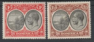 DOMINICA 1923 KGV SHIP 1D AND 11/2D