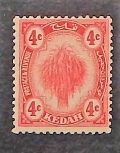Malaya, Kedah 7. 1912-21 4c Scarlet