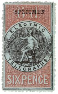 (I.B-CK) Australia Telegraphs : NSW Electric Telegraphs 6d