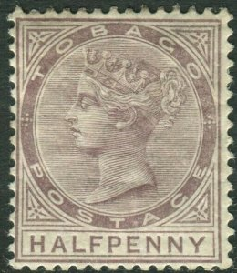 TOBAGO-1880 ½d Purple-Brown.  A lightly mounted mint Sg 8