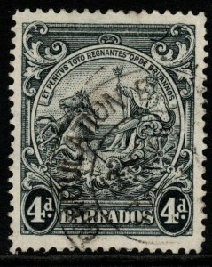 BARBADOS SG253db 1944 4d BLACK p14 CURVED LINE AT TOP FINE USED