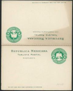 MEXICO Early 2c + 2c reply postcard unused.................................66210
