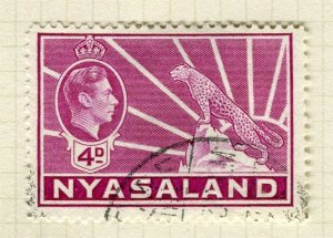 NYASALAND; 1938 early GVI issue fine used 4d. value