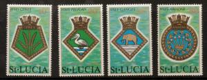 ST.LUCIA SG434/7 1976 ROYAL NAVY CRESTS MNH