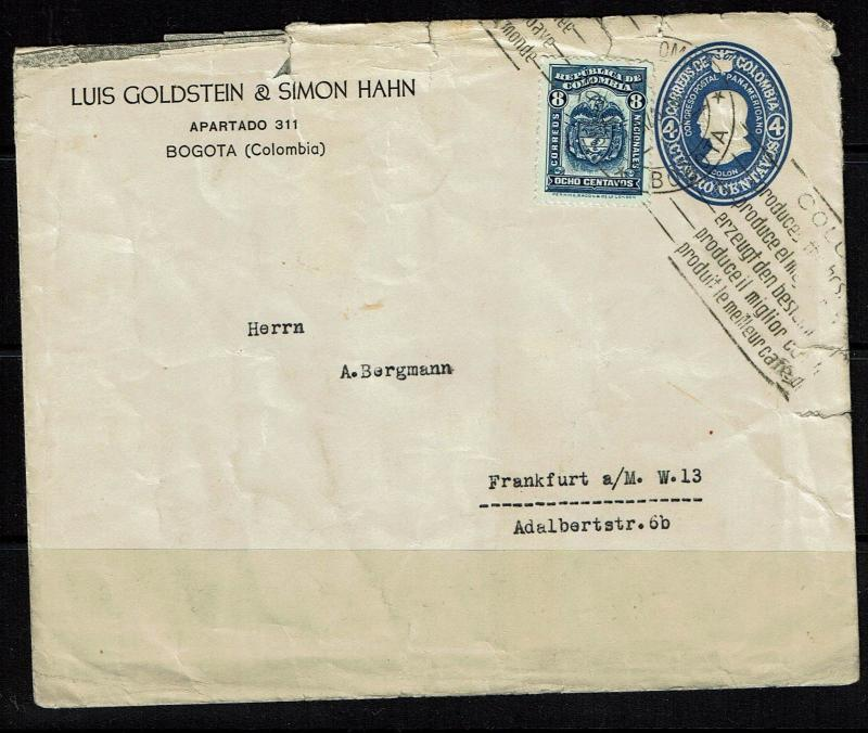 Colombia 4c Postal Stationary to Germany, Rough Edges - Lot 090617