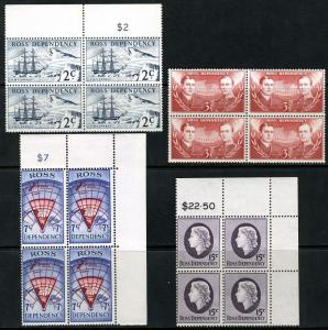 NEW ZEALAND ROSS DEPENDENCY SC# L5-8  BLOCKS OF FOUR MINT NEVER HINGED AS SHOWN