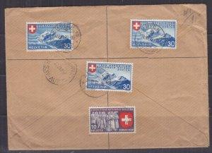 SWITZERLAND, 1939 Reg. cover, National Exhibition 30c. (3), Zurich to Australia.
