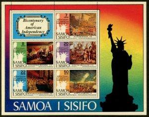 SAMOA Sc#432a SG#MS464 1976 US Bicentennial Souvenir Sheet Mint OG NH