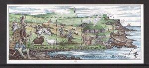 Faroe Islands  #452  MNH  2005  sheet life of Vikings