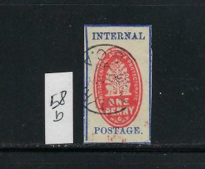 BRITISH CENTRAL AFRICA SCOTT #58B 1898 INTERNAL POSTAGE - USED