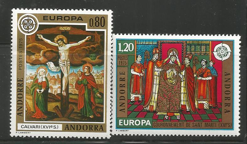 ANDORRA 236-237, MNH,PAIR OF STAMP CORONATION OF ST MARTI