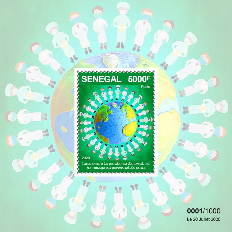 Senegal Medical Stamps 2020 MNH Fight Against Corona Frontline Workers 1v M/S