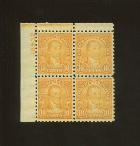 United States Postage Stamp #591 MNH VF Plate No. 18532 Block of 4