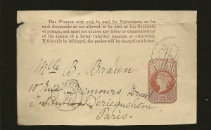 Great Britain 1881 Queen Victoria 1/2P Pre-stamped Newspaper Wrapper Front Only
